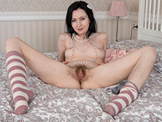 Vita teases with her hairy pussy