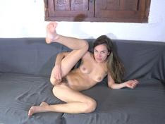 Ambar masturbates on her favorite sofa