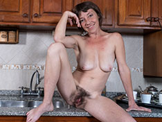 Helen H strips naked in her kitchen