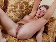 Hairy girl Fina strips out of her sexy white dress
