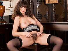 Kate Anne masturbates and strips naked on chair