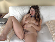 Felicia F done studying gets naked on sofa