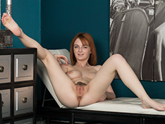 Lola Gatsby gets naked on her white leather chair