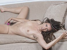 Jazmine Skye masturbates with her pink vibrator