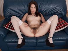 Julia Moore strips off her white lingerie