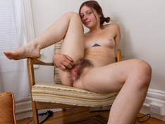 Amateur brunette Vanessa spreads hairy pussy