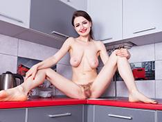 Tamanta strips naked in her kitchen
