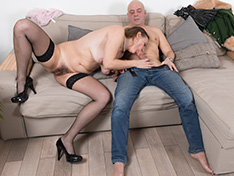 Afeena goes to her living room for hot sex
