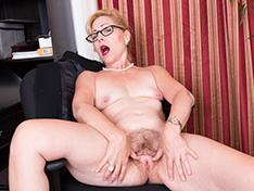 Badd Gramma strips naked in her office