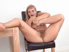 Ulrikke strips nude on her dinner table